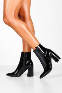 boohoo - Womens Pointed Block Heel Shoe Boots - Black - 6, Black