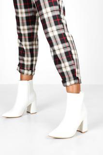boohoo - Womens Pointed Block Heel Shoe Boots - White - 3, White