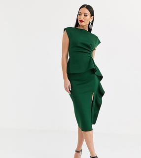 ASOS Tall - ASOS DESIGN Tall – Bleistiftmidikleid mit Schößchen und Faltendetail-Grün
