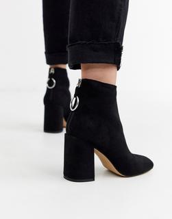 London Rebel - Schwarze Stiefel mit hohem Blockabsatz
