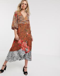 Liquorish - Wadenlanges Kleid aus Satin mit gewickelter Vorderseite und Tier- und Blumenmuster-Mehrfarbig