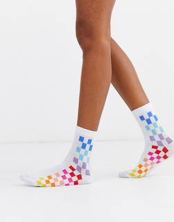 ASOS DESIGN - rainbow chequerboard stripe ankle socks