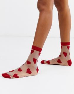 ASOS DESIGN - sheer heart ankle socks
