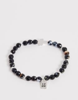 Icon Brand - beaded bracelet with cross charm in black