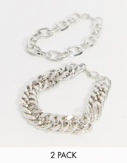 Uncommon Souls - chunky bracelet 2 pack in silver