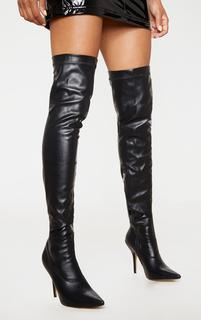PrettyLittleThing - Black Thigh High PU Sock Boot, Black