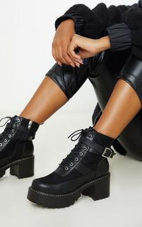 PrettyLittleThing - Black Cleated Platform Ankle Buckle Lace Up Ankle Boot, Black