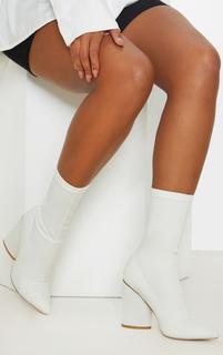 PrettyLittleThing - White Chunky Block Heel Sock Boot, White