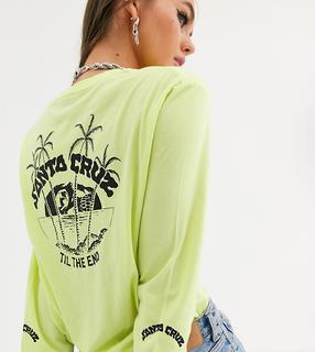 Santa Cruz - Horizon – Langärmliges Shirt in verwaschenem Neongrün mit Print am Arm und am Rücken, exklusiv bei ASOS