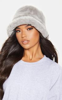 PrettyLittleThing - Grey Faux Fur Bucket Hat, Grey