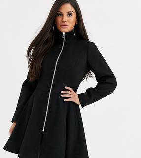 ASOS Petite - ASOS DESIGN Petite – Ausgestellter Mantel in Schwarz mit Reißverschluss