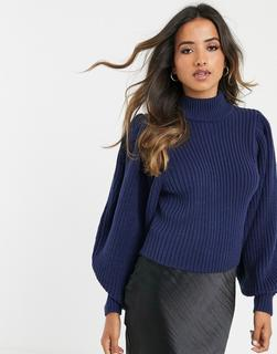 ASOS DESIGN - Grob gerippter Pullover mit voluminösen Ärmeln-Navy