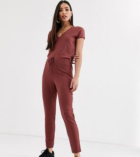 ASOS Tall - ASOS DESIGN Tall tie waist v neck jumpsuit with peg leg