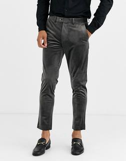 Gianni Feraud - Skinny Fit Velvet Cropped Suit Trousers