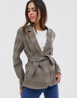 Vila - check belted blazer