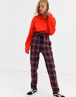 Heartbreak - paperbag waist tailored trousers in navy and red check