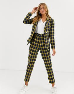 Heartbreak - tailored peg leg trousers in navy and yellow check