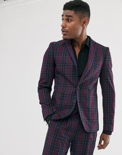 Devils Advocate - skinny fit berry tartan check suit jacket