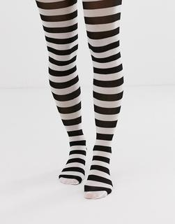 ASOS DESIGN - Halloween stripe tights in black and white