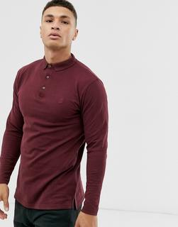 SOULSTAR - fitted button through jersey polo in burgundy