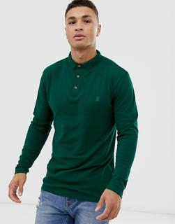 SOULSTAR - fitted button through jersey polo in dark green