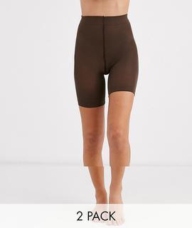 ASOS DESIGN - anti-chafing shorts 2 pack in Umber