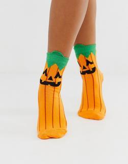 ASOS DESIGN - Halloween pumpkin face socks