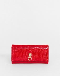 ASOS DESIGN - croc effect purse with hardware detail