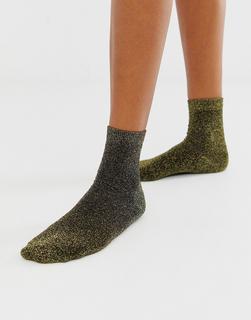 ASOS DESIGN - ankle socks in black with gold glitter