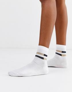 ASOS DESIGN - glitter rib stripe ankle socks in white gold black