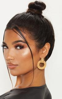 PrettyLittleThing - Gold Rope Effect Round Door Knocker Earrings, Yellow