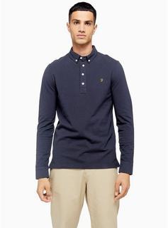 Farah - Mens Farah Navy Ricky Long Sleeve Polo*, Navy