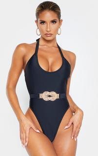 PrettyLittleThing - Black Diamante Twist Trim Belted Swimsuit, Black