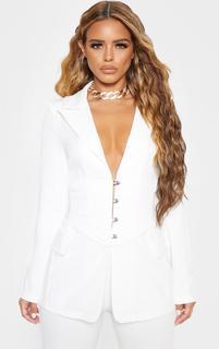 PrettyLittleThing - Petite White Corset Woven Blazer, White
