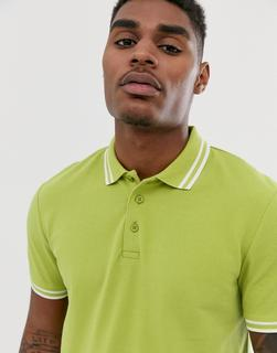ASOS DESIGN - tipped pique polo shirt in yellow