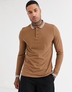 ASOS DESIGN - long sleeve tipped pique polo shirt in brown