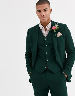 ASOS DESIGN - wedding super skinny suit jacket in forest green micro texture
