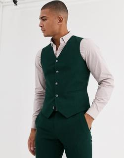 ASOS DESIGN - wedding super skinny suit waistcoat in forest green micro texture