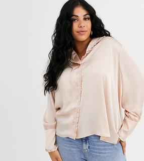 ASOS Curve - ASOS DESIGN Curve long sleeve blouse with frill collar detail