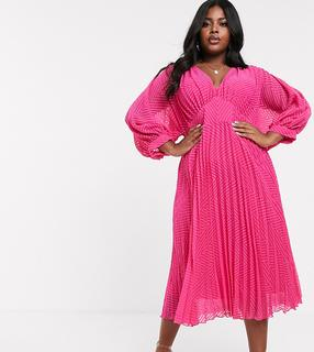 ASOS Curve - ASOS DESIGN Curve pleated batwing midi dress in chevron dobby