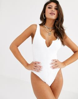 ASOS DESIGN - crinkle notch front swimsuit in white