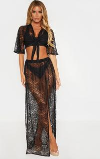 PrettyLittleThing - Black Lace Split Maxi Beach Skirt, Black