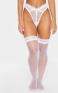 PrettyLittleThing - White Lace Top Sheer Hold Up Stockings, White