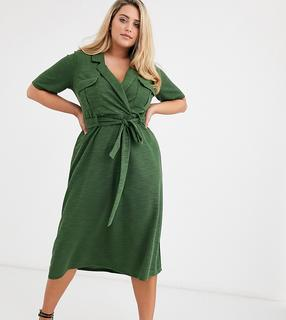 ASOS Curve - ASOS DESIGN Curve midi belted shirt dress in slub