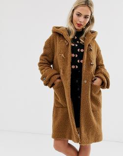 ASOS DESIGN - borg hooded duffle coat in brown