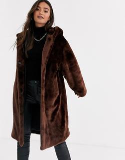 ASOS DESIGN - plush faux fur hooded coat in brown