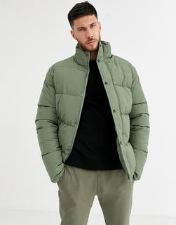 ASOS DESIGN - sustainable puffer jacket in green with funnel neck