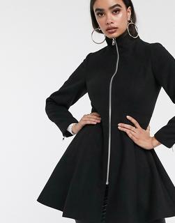 ASOS DESIGN - Ausgestellter Mantel in Schwarz mit Reißverschluss