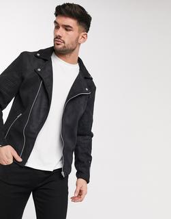 ASOS DESIGN - faux suede biker jacket in black