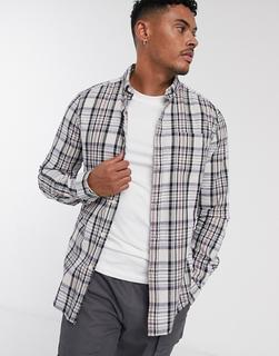 ASOS DESIGN - slim check shirt in ecru